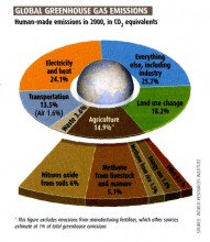 This illustration is taken from an article in New Scientist, during 2008.  It shows the relative proportions of 'Greenhouse' gases, generated by mankind. Additional data suggest that mankind's contribution of Carbon Dioxide to the atmosphere is less than one eight-hundredth of that created by natural sources