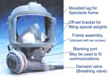 Mask features: Low volume visor reduces 'negative buoyancy', whilst inner mask and air-ducts ensure response is fast and retained carbon dioxide is made minimal.