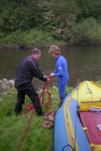 Setting up traversing belays, to cross the River Severn without the boat!